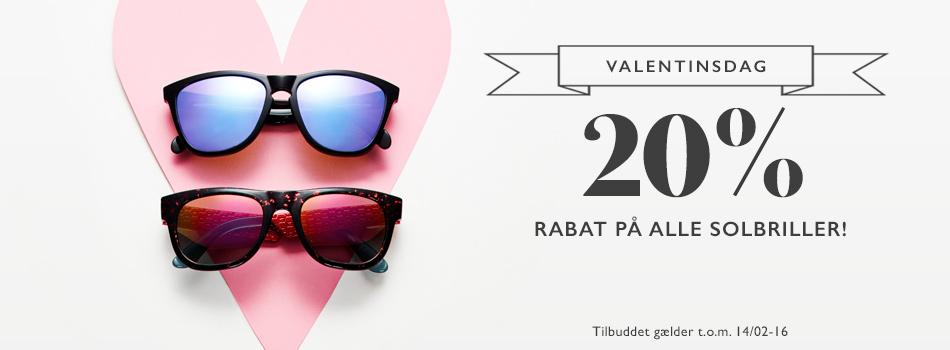 Valentinsdag 20% rabat på alle solbriller