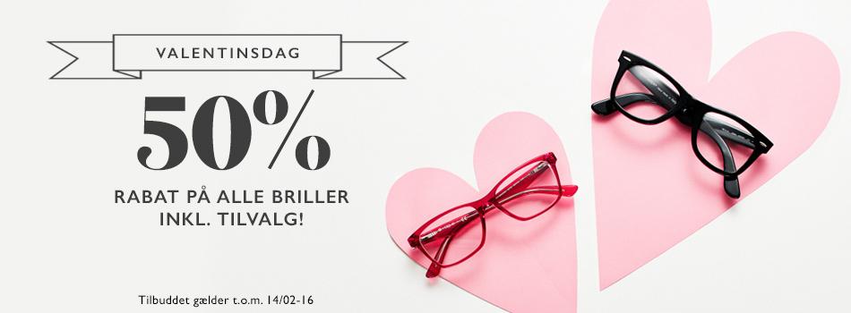 Valentinsdag 50% rabat på alle briller inkl. tilvalg